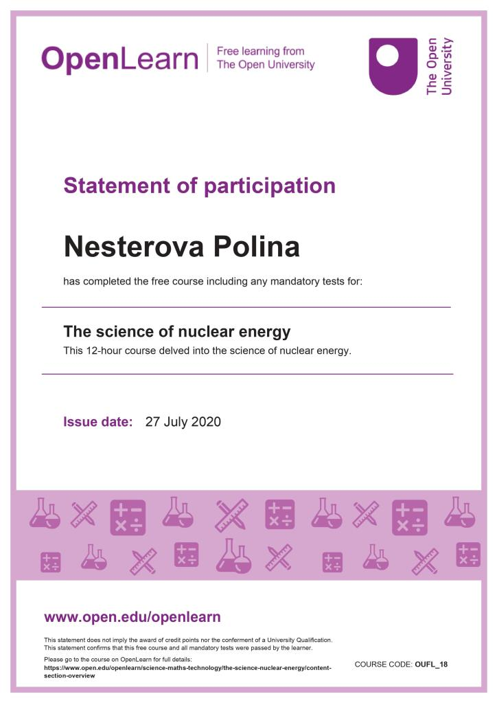 The science of nuclear energy certificate