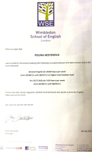 English school in london Certificate