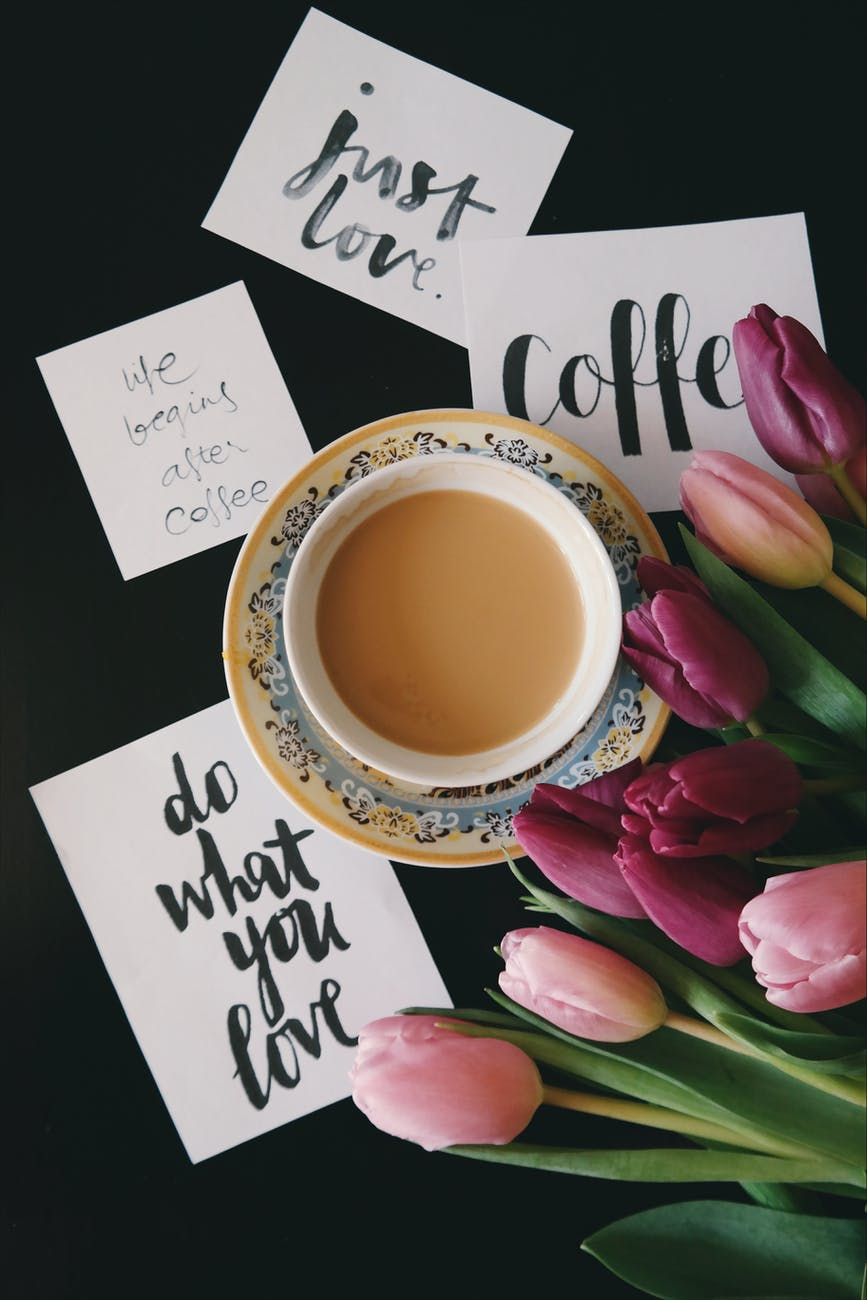 flowers, coffee, cards