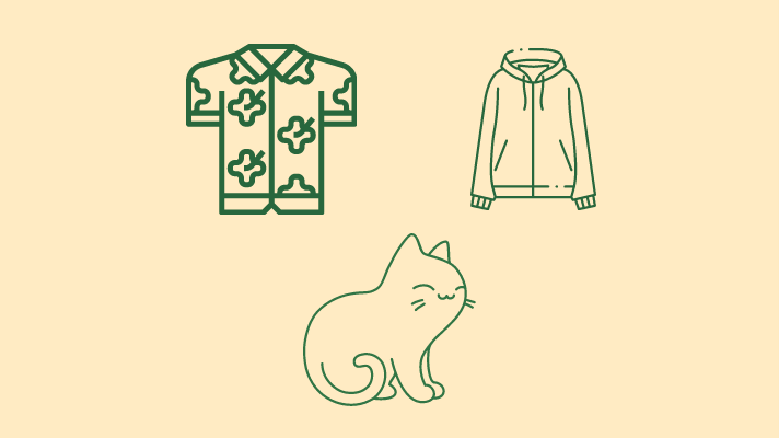Hawaiian shirt, hoodie, a cat