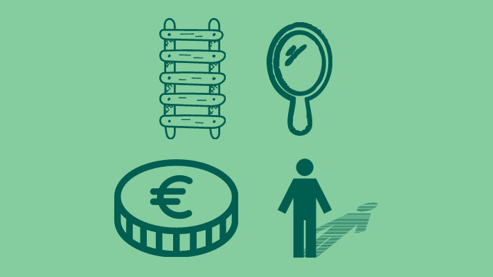 Ladder, coin, mirror, shadow
