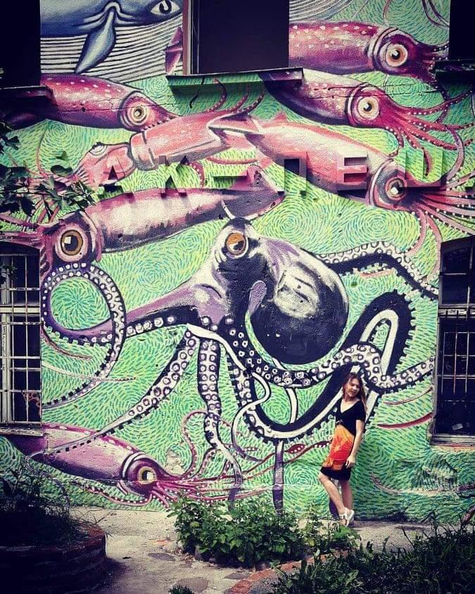 Octopus graffiti on a green wall