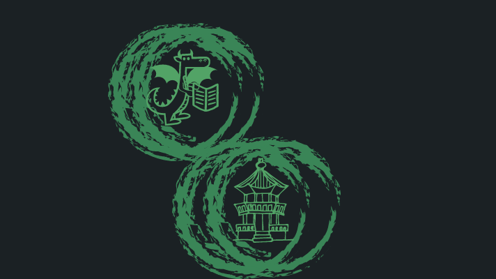 a dragon and a korean style building in circles
