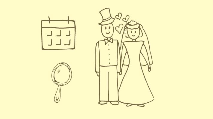 Calendar, mirror, a couple at the wedding