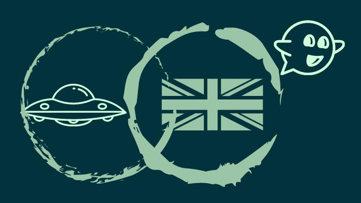 ufo, British flag,ghost