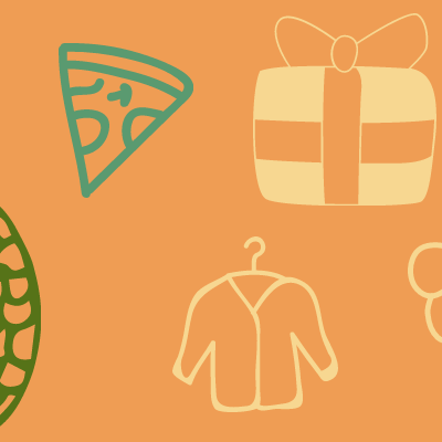 pineapple,pizza gift,shirt,grapes