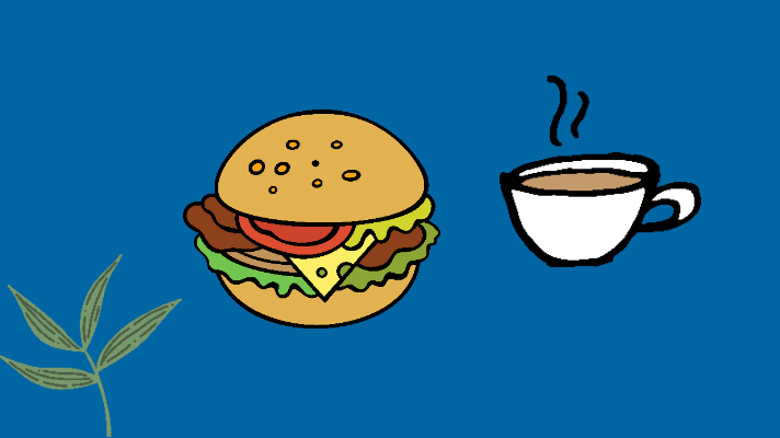 Green leaves, hamburger, cup of coffee