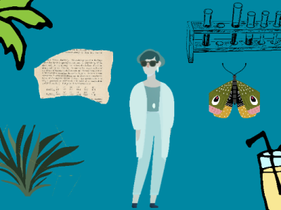 Woman, butterfly, cocktail, paper, grass, tree, lab