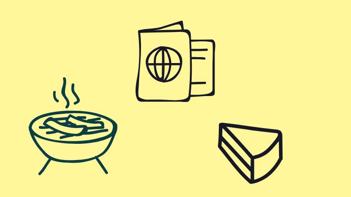 Food, cake, book